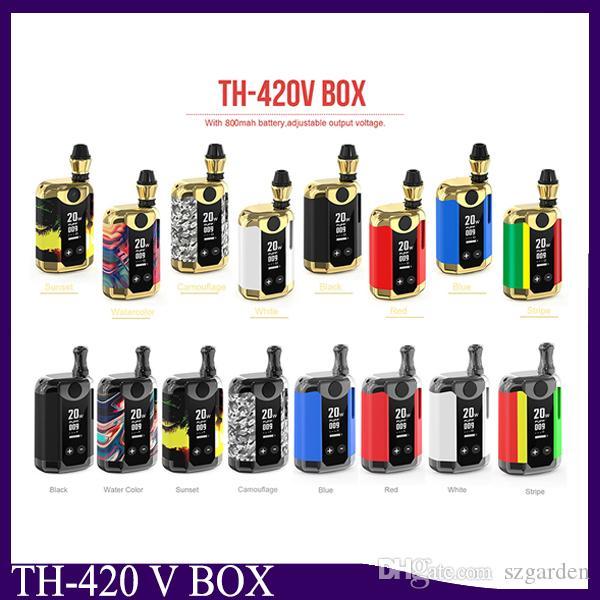Kangwape original Th420 v caixa de caixa 800mAh 20w de potência ajustável VAPE MOD TH-420V com 0,5ml Cartucho de Bobina de Cerâmica