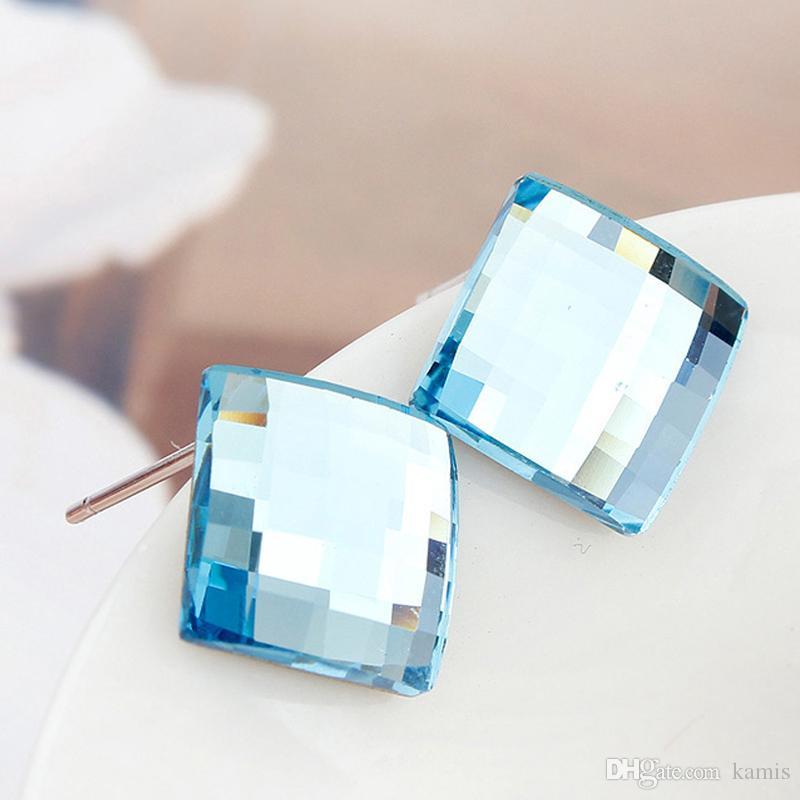 Swarovski Küpeler Jwelry İçin Kadınlar Aksesuar Pendientes Küçük Küpe Studs Brincos Noel Bijoux Hediyesi Gönderen Kare Orijinal Kristal