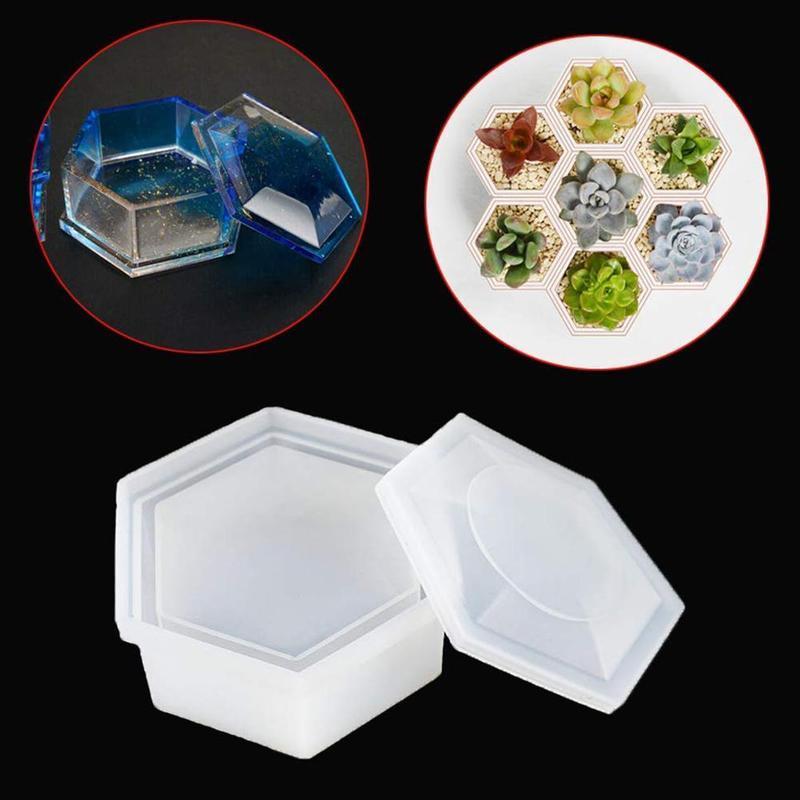 Новый прозрачный силиконовый шестиугольник ювелирные изделия ожерелье ящик для хранения плесень смолы литья плесень DIY ремесло инструменты