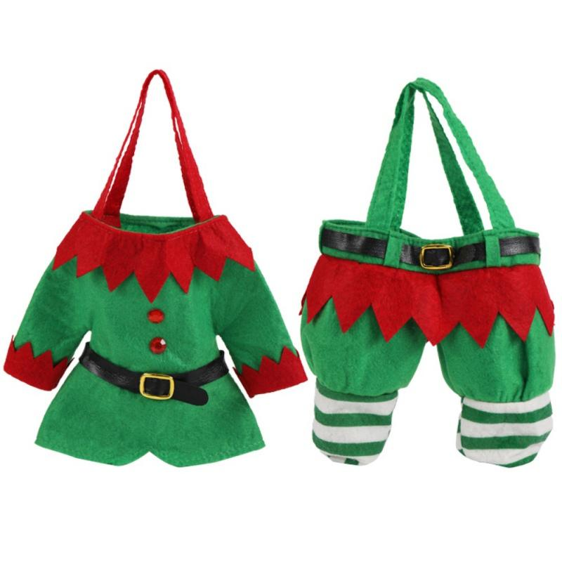 Santa / Elf Pants Suit Doces do Natal Bolsas Wine meia garrafa Gift Bag Xmas do casamento do feriado de Ano Novo decorações do Natal