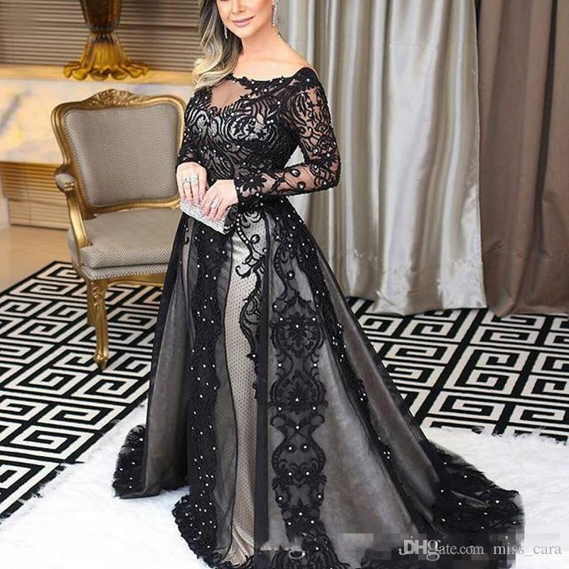 2019 Amazing Evening Dresses Long Sleeve Bateau Neck Beads Lace Applique Backless Mermaid Prom Gowns Charming Arabia Celebrity Party Dress