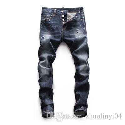 Toptan slp mavi siyah tahrip mens İnce denim düz bisikletçinin skinny jeans Casual Uzun erkekler kot yırtık Boyutu 28-38 ücretsiz kargo DSQ03