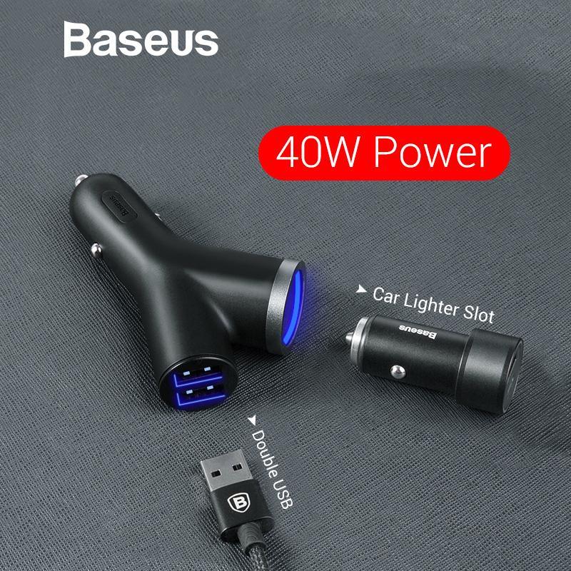 Baseus 3 1 Araç Şarj iphone Cep Telefonu Şarj Çift USB + Çakmak 3 Cihazlar için 3.4A Hızlı Araç Telefonu Şarj