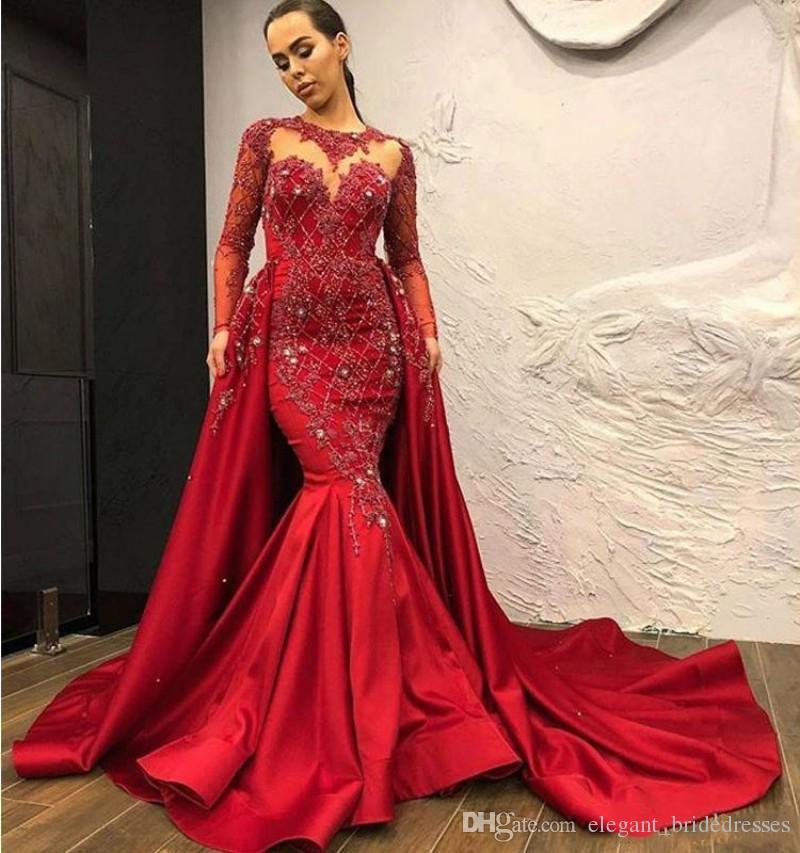 2019 élégantes robes de soirée sirène rouge foncé satin robes de bal pure cou balayage train Sexy dos nu femmes événement robes formelles