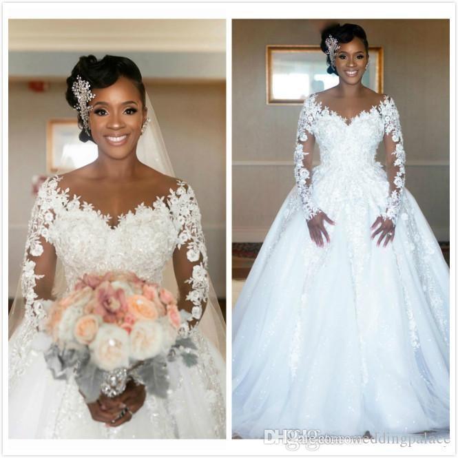Arabe vintage dentelle robes de mariée Sheer Appliques Jewel Neck Voir Bien manches longues Robes de mariée bon marché de haute qualité Robes de mariée