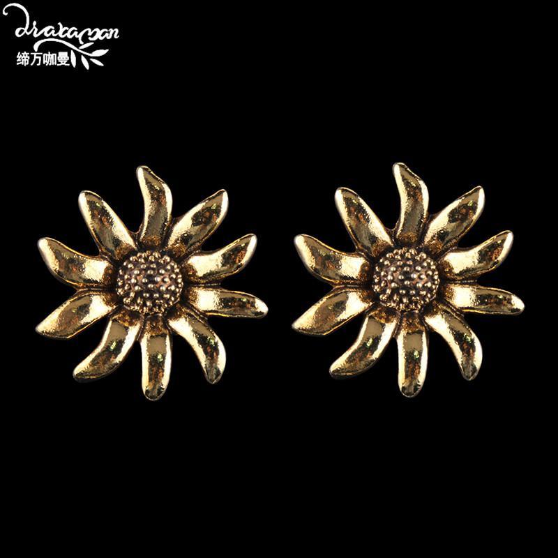 Dvacaman 2020 Declaração de girassol da cor do ouro do metal Stud brincos para Meninas da Moda Floral Mulheres Big Brincos Partido AB32 Jóias