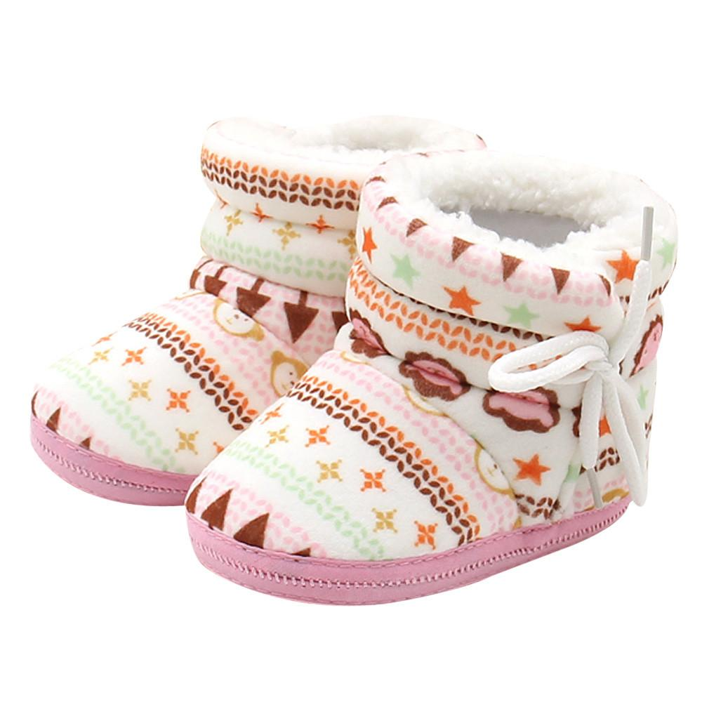 Toddler Infant Shoes Girl Boy Newborn Baby Print Boots Soft Sole Cotton Prewalker Warm Shoes Bebek Ayakkabi Niechodki Sapato