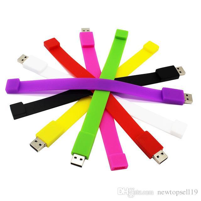 Wholesales creative 10 color bracelet pendrive 4G 8G 16G 32G 64G Usb 2.0 Usb flash drive Pendrive