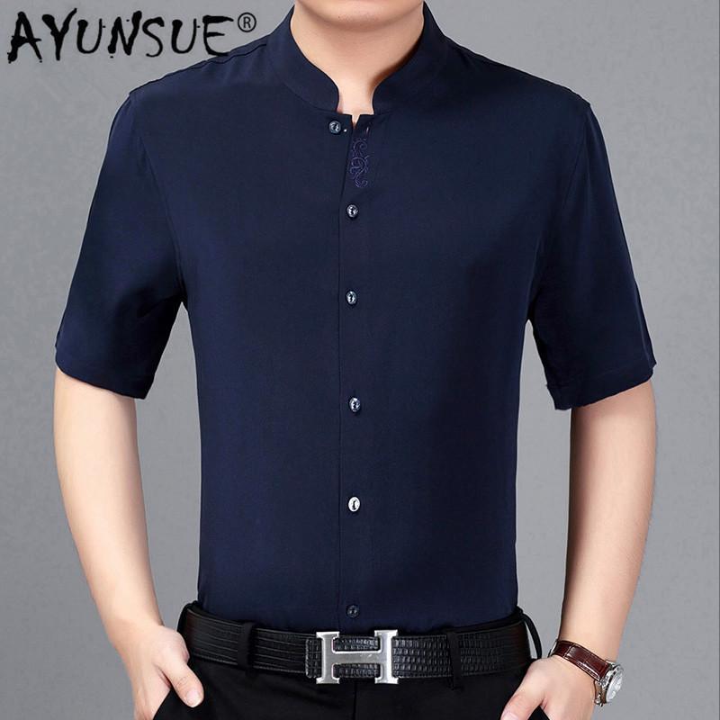 AYUNSUE 100% Mulberry Silk Shirt Vestuário Plus Size Verão de manga curta branco bordado Chemise Homme 2020 3918 KJ4559