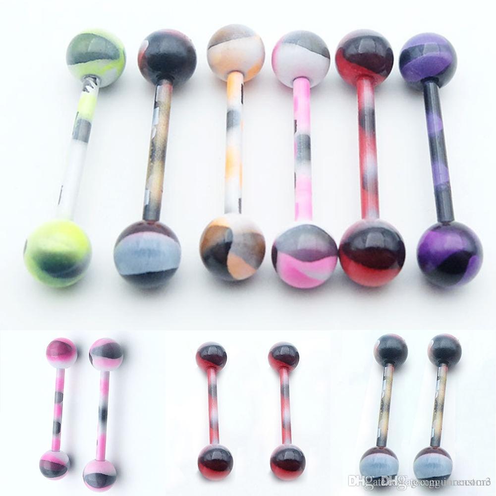 50pcs/Lot Titanium steel Lip Tongue nail Piercing Septum Industrial Barbell Flesh Tunnels Ear Plugs Ear Expanders Body Jewelry