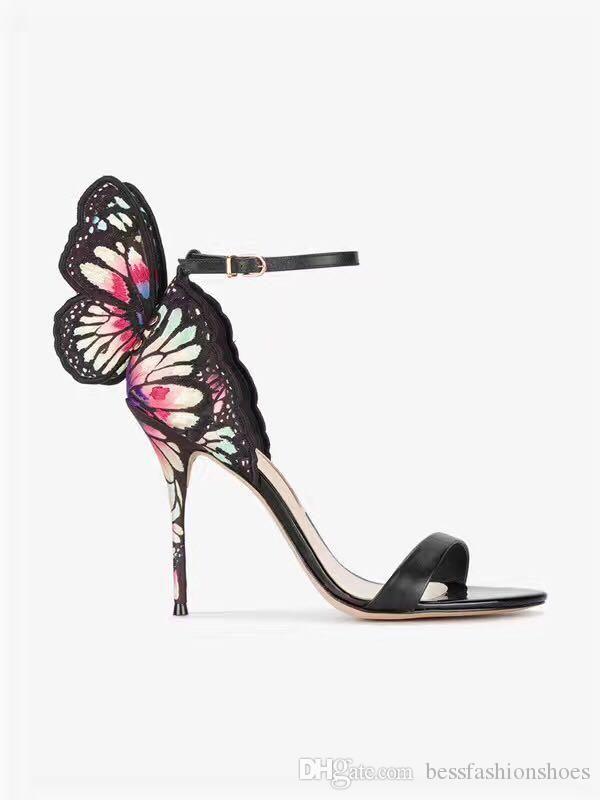 소피아 웹스터 여성 나비 날개 달린 여성 파티 하이힐 샌들 부츠 얇은 굽 결혼식 펌프 신발 검투사 여성 쇼 샌들