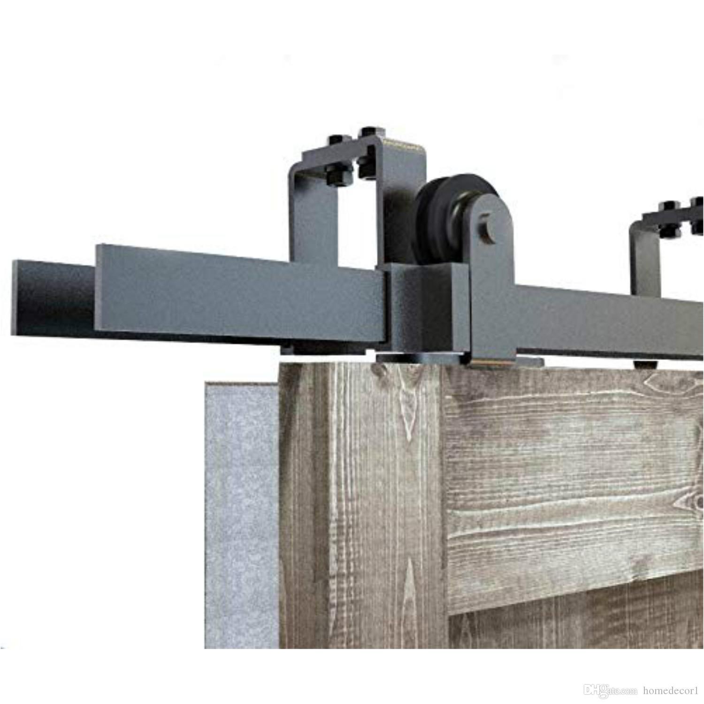 تجاوز 5-8FT انزلاق الحظيرة الخشب مزدوج الأجهزة الباب قمة جبل الأسود ريفي انزلاق باب الحظيرة عدة الأسطوانة لانخفاض سقف تصميم جديد