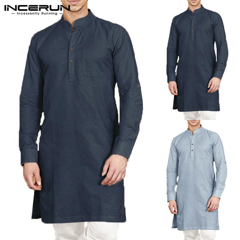 INCERUN Casual Men camisa carrinho Collar Retro manga comprida Botão Cotton Homens Long shirt cor sólida Tops Vestuário indianos 2019 LY191203