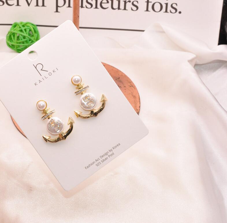 Moda-S925 alfiler de plata retro sentido irregular perla irregular de diamantes de anclaje de la forma pendientes atmosféricos pendientes del Rhinestone digitales