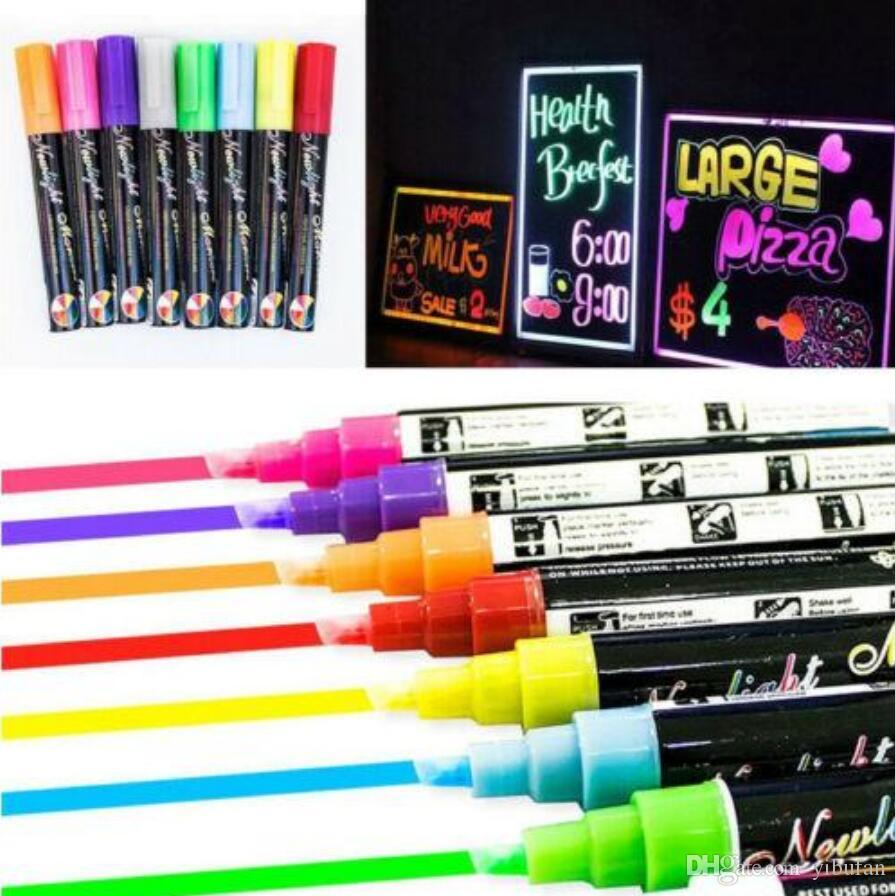 6MM Dual Nib Fluorescent Highlighter Wet Liquid Chalk Neon Marker Pen Dry Eras Highlighters 24pcs/lot