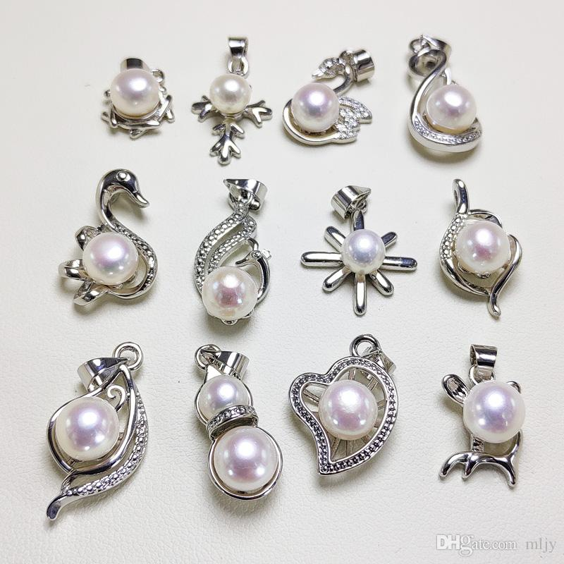 Echte 100% natürliche Frischwasserperlen-Schmucksachen heißen Verkauf 925 Silber Anhänger Halskette für Frauen Weiblicher 5-7mm Oblate Perlenschmuck Geschenk