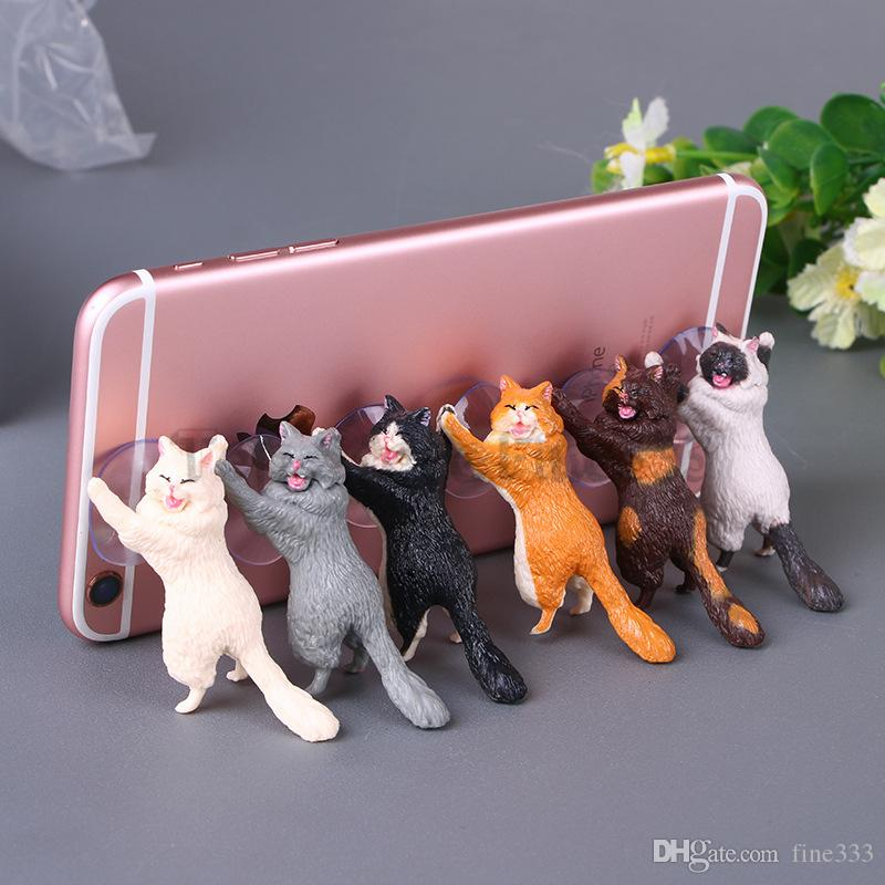 Phone Holder Cute Cat Accessories Support Resin Mobile Phone Holder Stand Sucker Tablets Desk Sucker Action Figures Doll Smartphone Holder