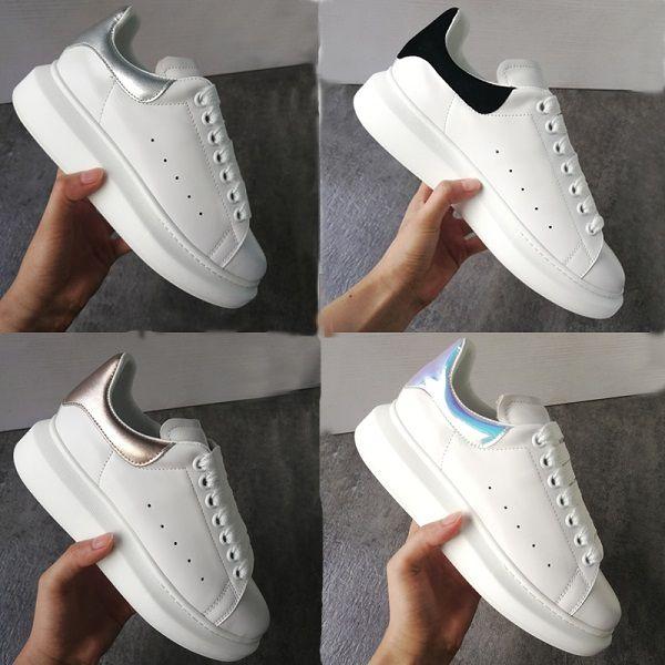 Hommes Femmes Plateforme Chaussures Sneakers surdimensionnées Lisse 100% Cuir de veau mode en cuir blanc à lacets Formateurs Big Semelle en caoutchouc avec New Box
