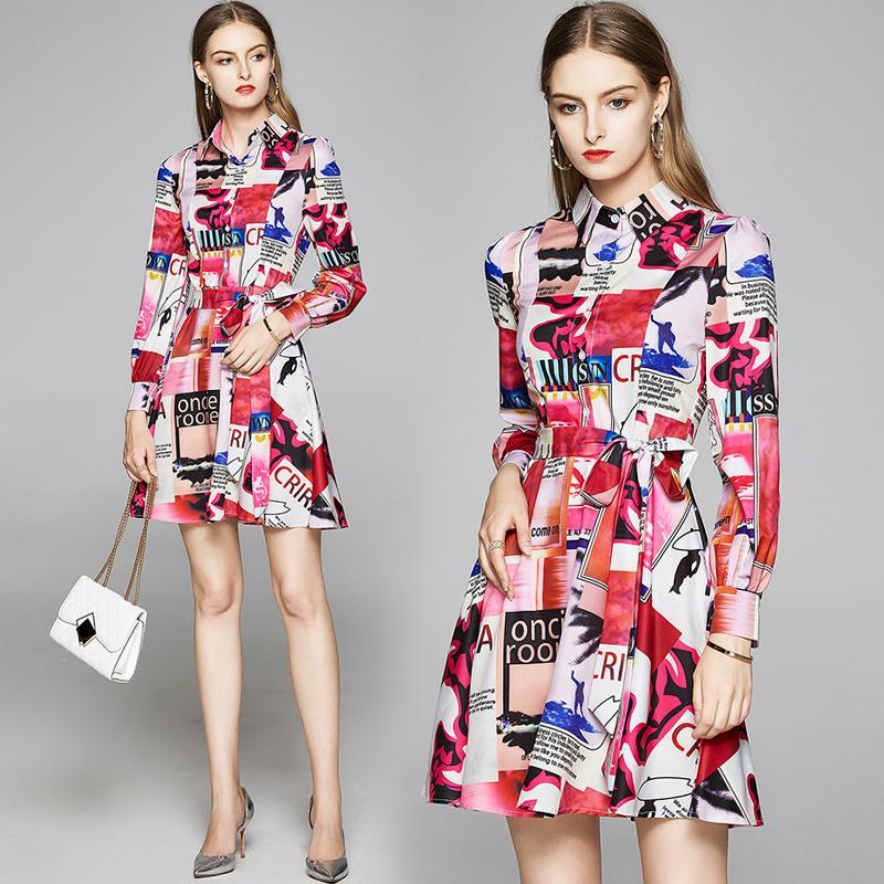 İlkbahar Yaz Sonbahar Pist Vintage Baskı Yaka Bow Belt Uzun Kollu Düğmesi Ön Kadınlar Bayanlar Casual Taraf A-Line Midi Plaj Elbise