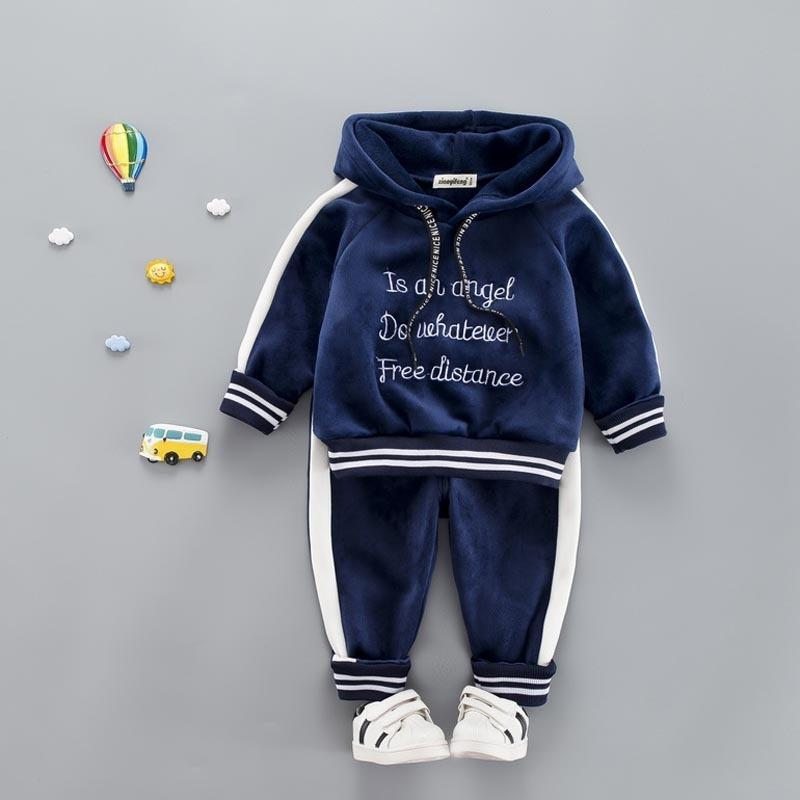 Baby Girl Boys Clothes Set For Toddler Kids Casual Sports Letter Hooded Velvet Autumn Spring Suits Clothing 1 2 3 4 Years J190513