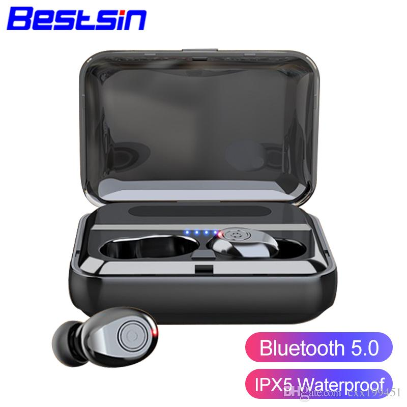 F9 TWS Bluetooth Earphones V5.0 Wireless Headphone HIFI Earbuds Stereo Bass headset With MIC 1500mAh Rechargeable mobile phone