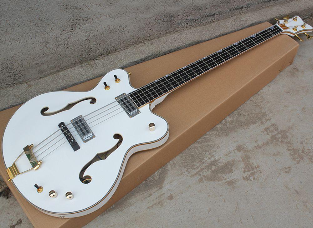 altın donanımıyla ücretsiz nakliye 4 dizeleri beyaz yarı boş elektrik bas gitar, 24 fret bağlayıcı beyaz ile klavyesine gül ağacı