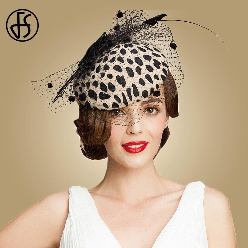 FS Fascinators Black Leopard Pillbox Hat With Veil 100% Australian Wool Felt Wedding Hats Women Vintage Bowknot Cocktail Fedora D19011102