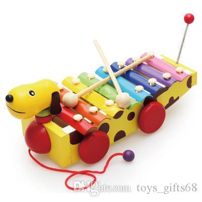Детская деревянная раннего детства образовательные игрушки музыка Деревянный щенок перетаскиванием молоток фортепиано Маленькие желтые собаки 8 октав