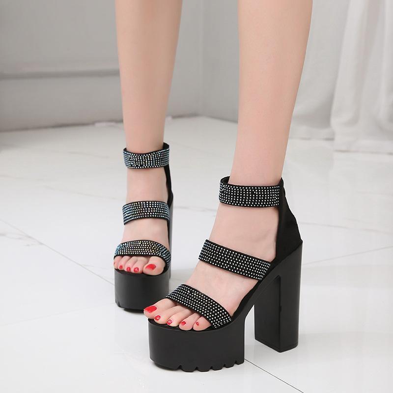 Новые европейские и американские высокие каблуки в лето 2019 модные сандалии толстыми каблуками женские Roman обуви водонепроницаемой платформы сверла 14см