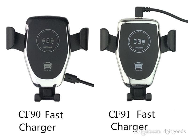 CF90 CF91 Qi sem fio Car Charger 10W 7.5W 5W Mount Holder fixação Smart Sensor de alta potência carregamento rápido Para Universal Smartphone