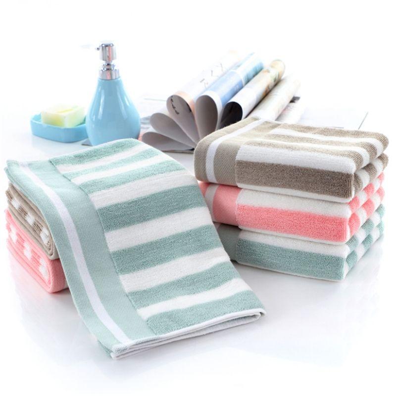 Serviette de magasins d'usine épaississement coton 130g 32 brins de bandes de couleur peuvent être personnalisées LOGO