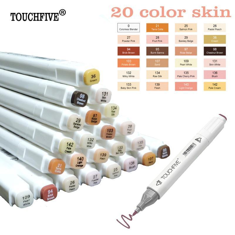 TOUCHFIVE 24 colores de la piel Boceto Tonos rotulador artista doble dirigió a base de alcohol Manga Arte Marcadores pincel