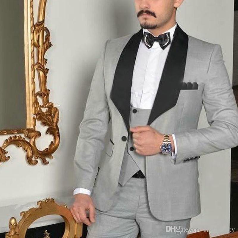 Cinza claro Personalizado 3 Peças Ternos De Casamento para Homens Preto Xale Lapela Groomsmen Terno Formal Do Noivo Ternos Slim Fit Mens Smoking para o Casamento