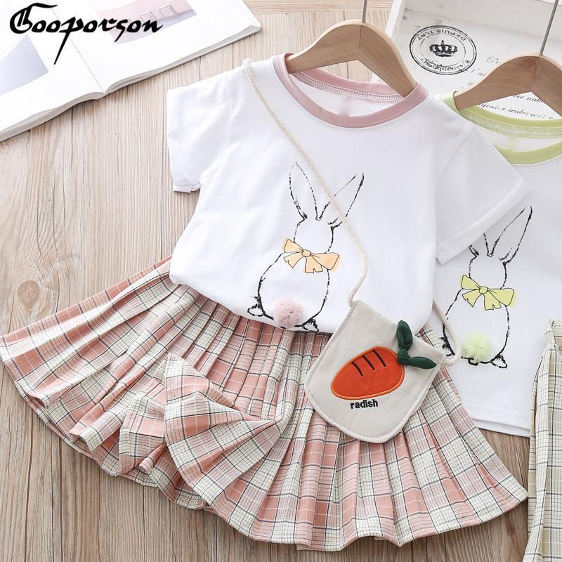 Mode Outfit Vêtements pour enfants lapin imprimé à manches courtes Shirtplaid Jupe plissée mignonne petite coréenne filles Set Vêtements avec sac CX200628