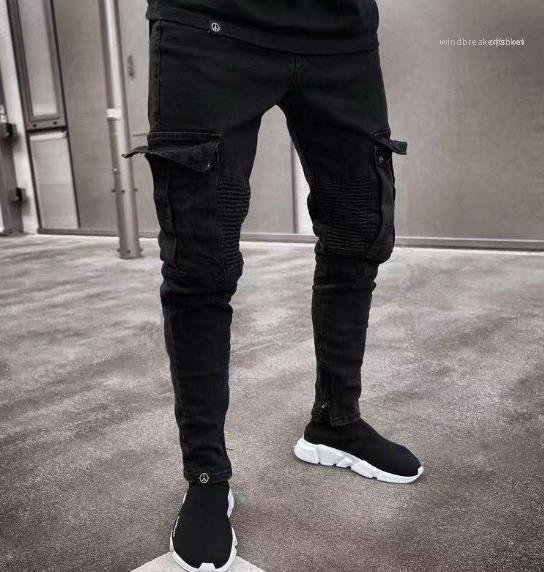 Jean-Bleistift-Hosen Taschen Hommes Pantalones Männer Kleidung Mode Herren Designer Jeans Schwarz Ripped Distressed Holes Entwurf