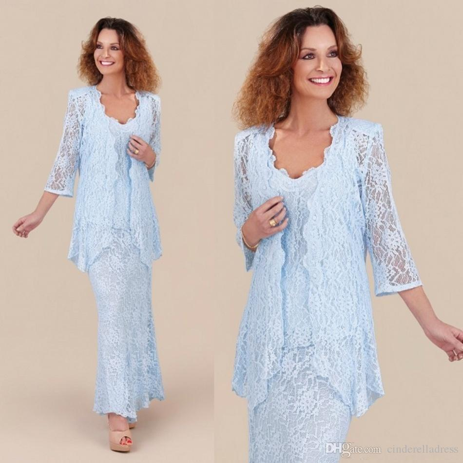 2020 Elegant Light Sky Blue Lace Mother of the Bride Dresses with Long Sleeves Jackets Wedding Party Gowns Formal
