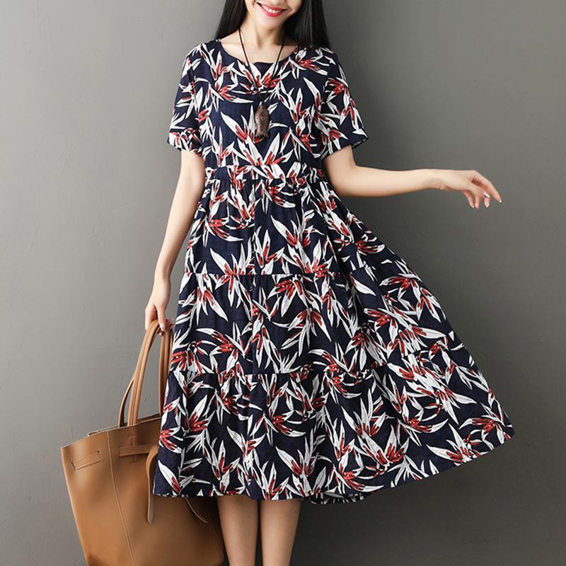 Women Cotton Linen Dress Leaves Floral Print Short Sleeve Vintage Dress Casual Loose Boho Midi summer clothes for women