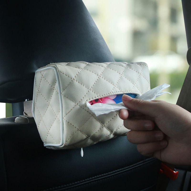 ONEWELL rectangulaire tissu en cuir Boîte de papier Porte-serviette pour voiture pare-soleil arrière Suspension automobile Décoration