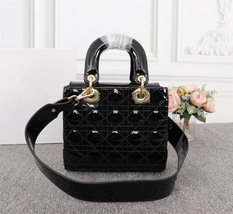 Donne Il solido diamanti tendenza personalità di temperamento colore moda borse a tracolla in vernice Lattice borse Messenger Portable
