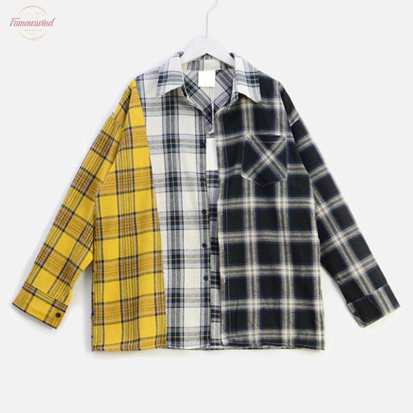 قميص منقوش تباين الألوان المرقعة المرأة بلوزة بلايز الهيب هوب كم طويل لصق منتظم قمصان 2020 الخريف الصيف بلوزات أنثى