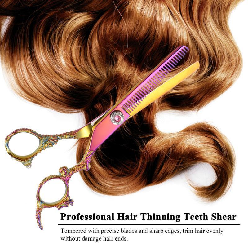 Professional Hair Emagrecimento Dentes Shears aço inoxidável cabelo colorido tesoura de corte Solon Uso Doméstico
