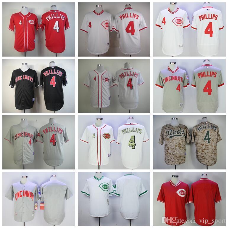 Uomini Baseball Vintage 4 Brandon Phillips Jersey in pensione 1976 1990 pullover della squadra Rosso Bianco Grigio Nero Camo Colore Tutti cucito l'alta qualità