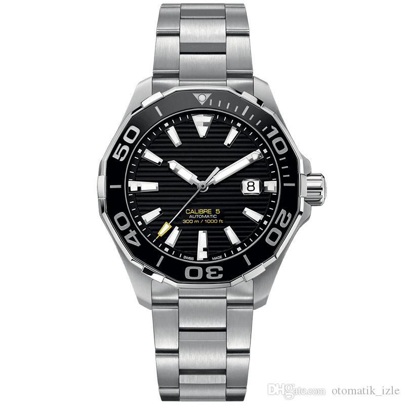 erkekler montre de luxe izle prim paslanmaz çelik otomatik mekanik hareketi 5ATM su geçirmez kronograf izle safir cam izle