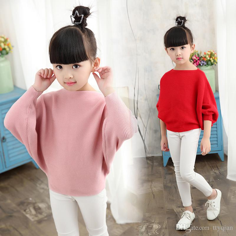 New Autumn Girls Children Batwing Long Sleeve School Knitted Cute Sweaters  And Pullovers For Kids Girls Clothing Sweater Jumper Tops Coat Free