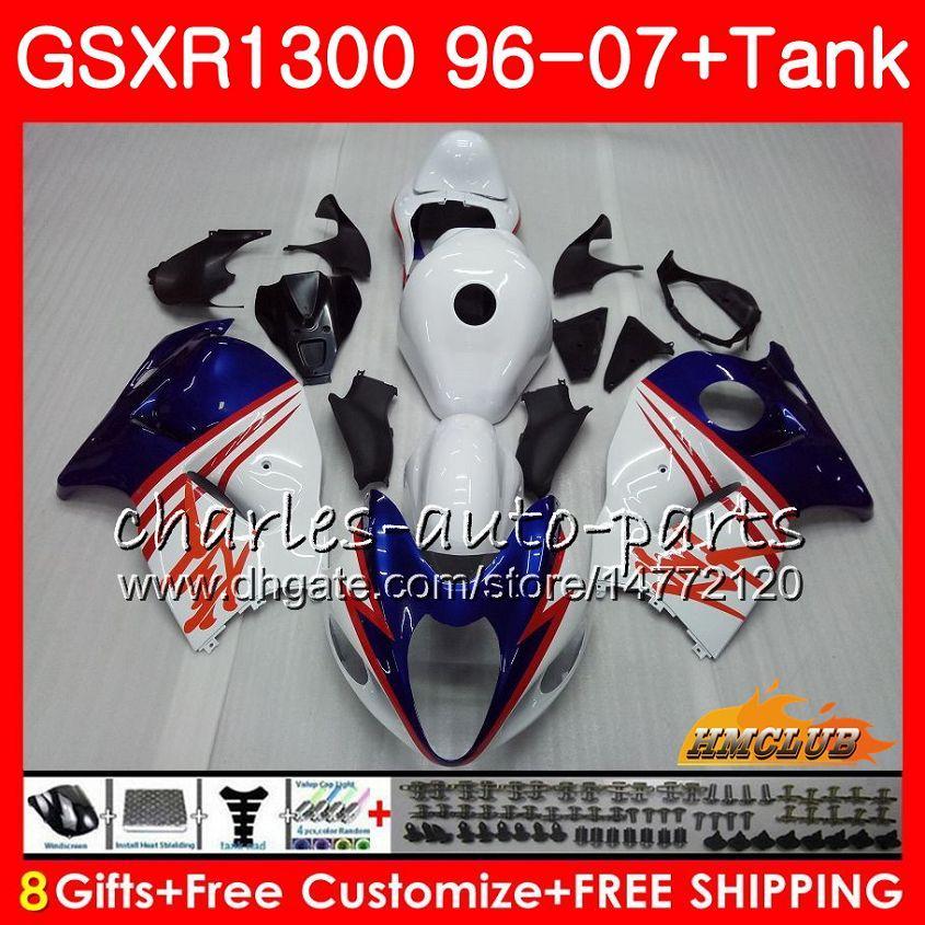 Кузов Для SUZUKI Hayabusa GSXR 1300 GSXR1300 96 02 03 04 05 06 07 24HC.129 GSX R1300 1996 2002 2003 2004 2005 2006 2007 синий белый Обтекатель