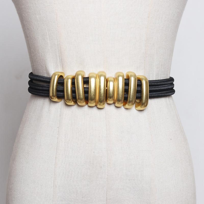 Moda Kıvrımlar Kadınlar Metal Kemerler Moda Femme Elastik Kuşağı Katı Renk Accessary Y200501