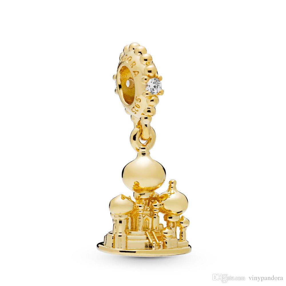 2019 Printemps 925 Sterling Silver Shine Plaqué Or Agrabah Château Pendentif Charm Perle Pour European Pandora Bijoux Charme Bracelets