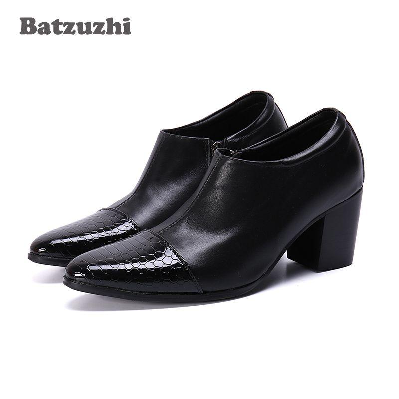Uomini Batzuzhi Tacchi 7.5cm tacco alto Stivaletti uomini di cuoio di modo Scarpe a punta stivali partito e cerimonia nuziale Calzature homme Chaussure