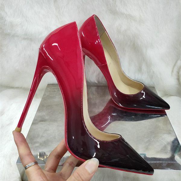 2020 caliente de la manera de los altos talones punta estrecha Diseñador dos colores Rojo Zapatos fondo poco profundo atractivo de la boca Sole Bombas vestido de novia de las mujeres calza tamaño 45