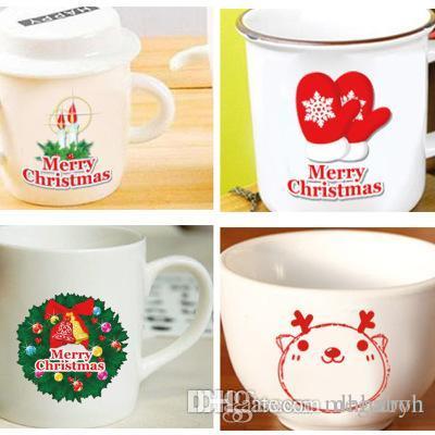 Симпатичный мультфильм Рождество наклейки маленького подарка чашка переключатель холодильник наклейка наклейка может удалить водонепроницаемые стены